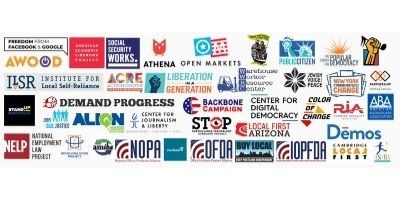 logos of 40+ local organizations who hosted an antitrust hearing